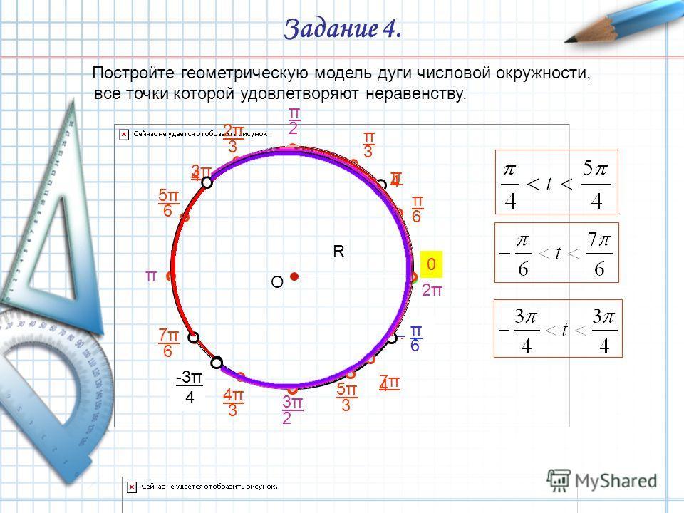 Задание 4. Постройте геометрическую модель дуги числовой окружности, все точки которой удовлетворяют неравенству. О R π 4 3π3π 4 5π5π 4 7π7π 4 π 6 π 3 2π2π 3 5π5π 6 7π7π 6 4π4π 3 5π5π 3 11π 6 π 2 π 3π3π 2 2π2π 0 π 6 -3π 4