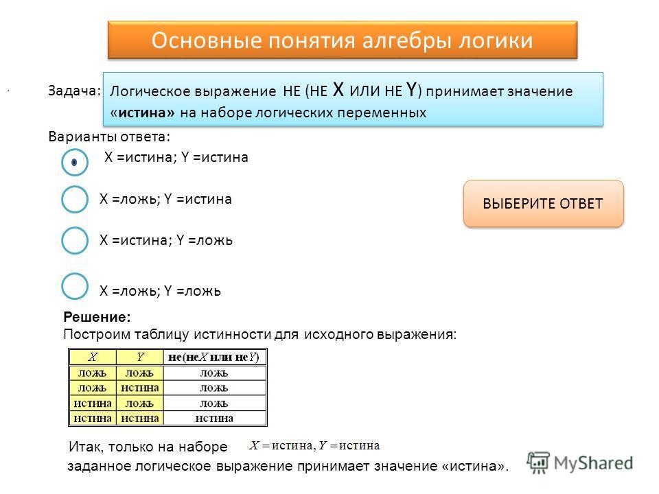 Логическое выражение НЕ (НЕ X ИЛИ НЕ Y ) принимает значение «истина» на наборе логических переменных Варианты ответа: Задача: X =истина; Y =истина X =ложь; Y =истина X =истина; Y =ложь X =ложь; Y =ложь ВЫБЕРИТЕ ОТВЕТ Основные понятия алгебры логики.