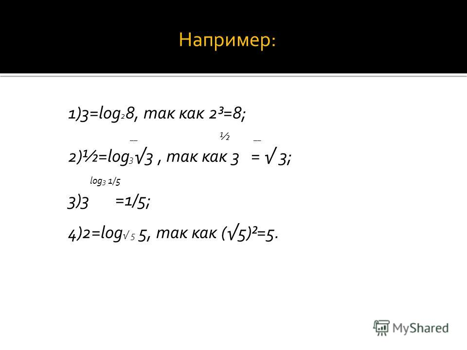 Например: 1)3=log 2 8, так как 2³=8; __ ½ __ 2)½=log 3 3, так как 3 = 3; log 3 1/5 3)3 =1/5; 4)2=log 5 5, так как (5)²=5.