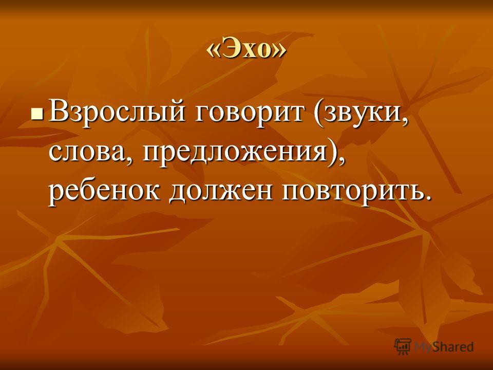 «Эхо» Взрослый говорит (звуки, слова, предложения), ребенок должен повторить. Взрослый говорит (звуки, слова, предложения), ребенок должен повторить.