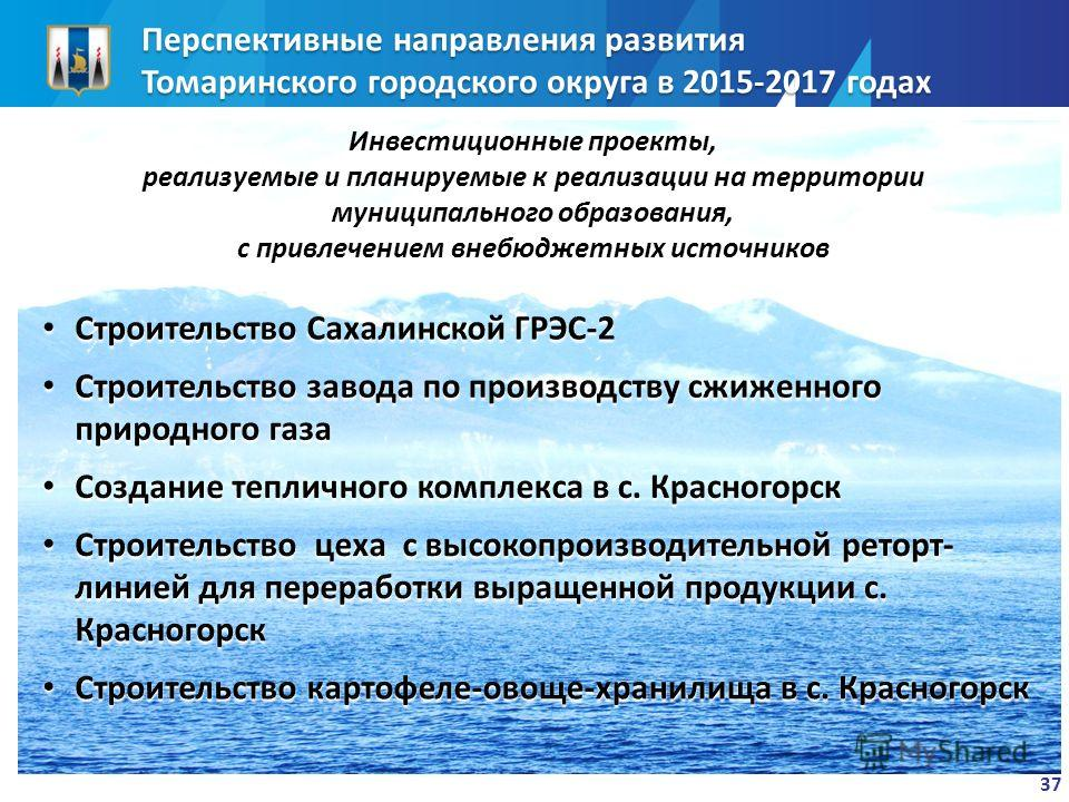 Перспективные направления развития Томаринского городского округа в 2015-2017 годах 37 Инвестиционные проекты, реализуемые и планируемые к реализации на территории муниципального образования, с привлечением внебюджетных источников