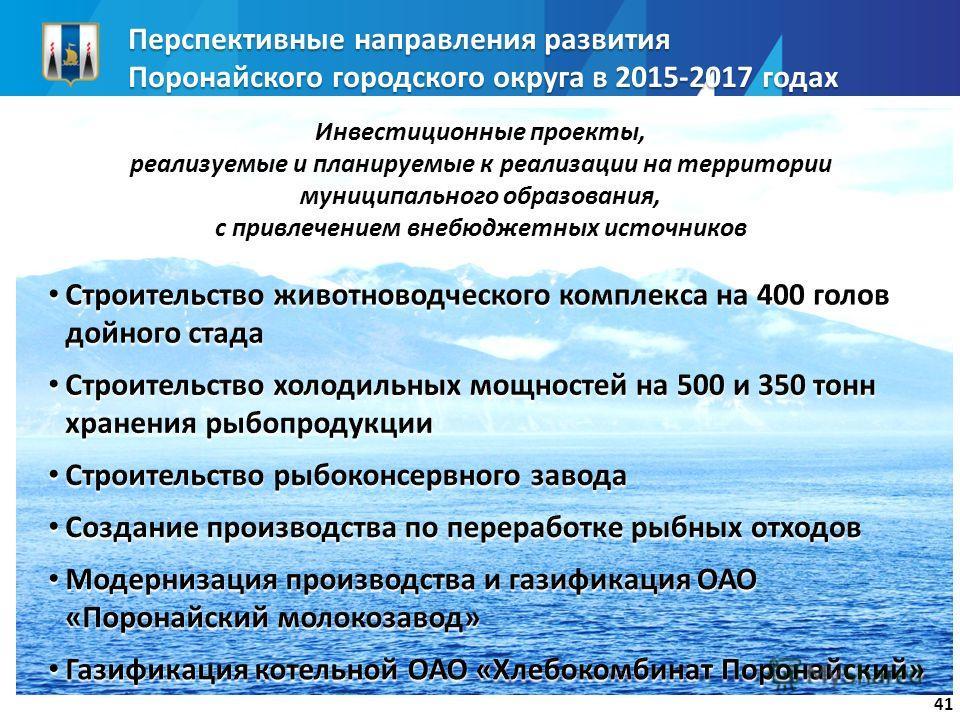 Перспективные направления развития Поронайского городского округа в 2015-2017 годах 41 Инвестиционные проекты, реализуемые и планируемые к реализации на территории муниципального образования, с привлечением внебюджетных источников