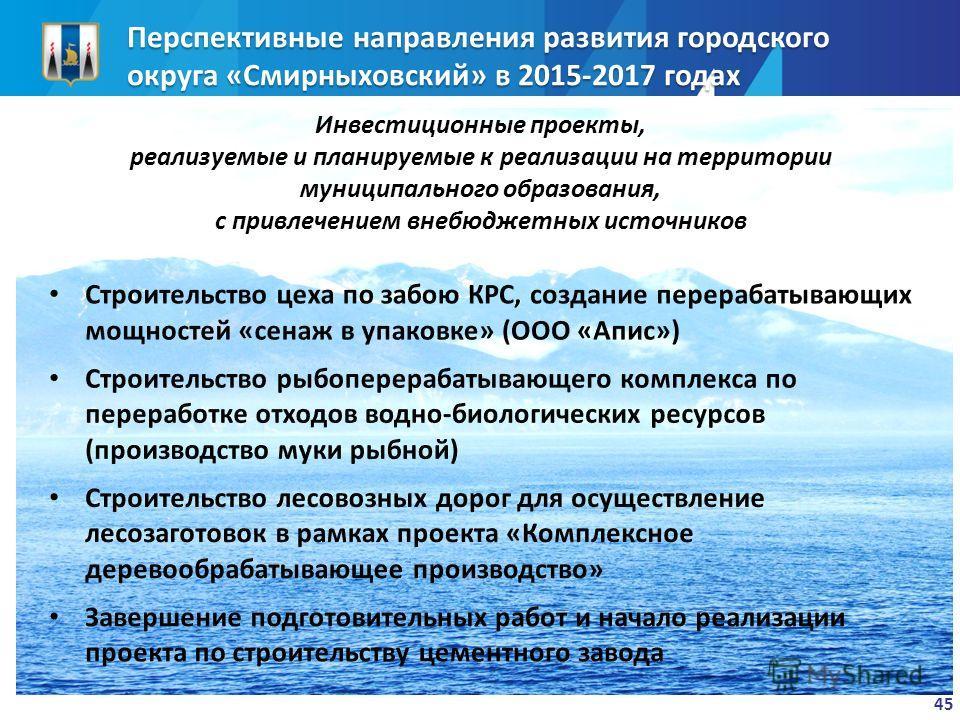 Перспективные направления развития городского округа «Смирныховский» в 2015-2017 годах Инвестиционные проекты, реализуемые и планируемые к реализации на территории муниципального образования, с привлечением внебюджетных источников 45