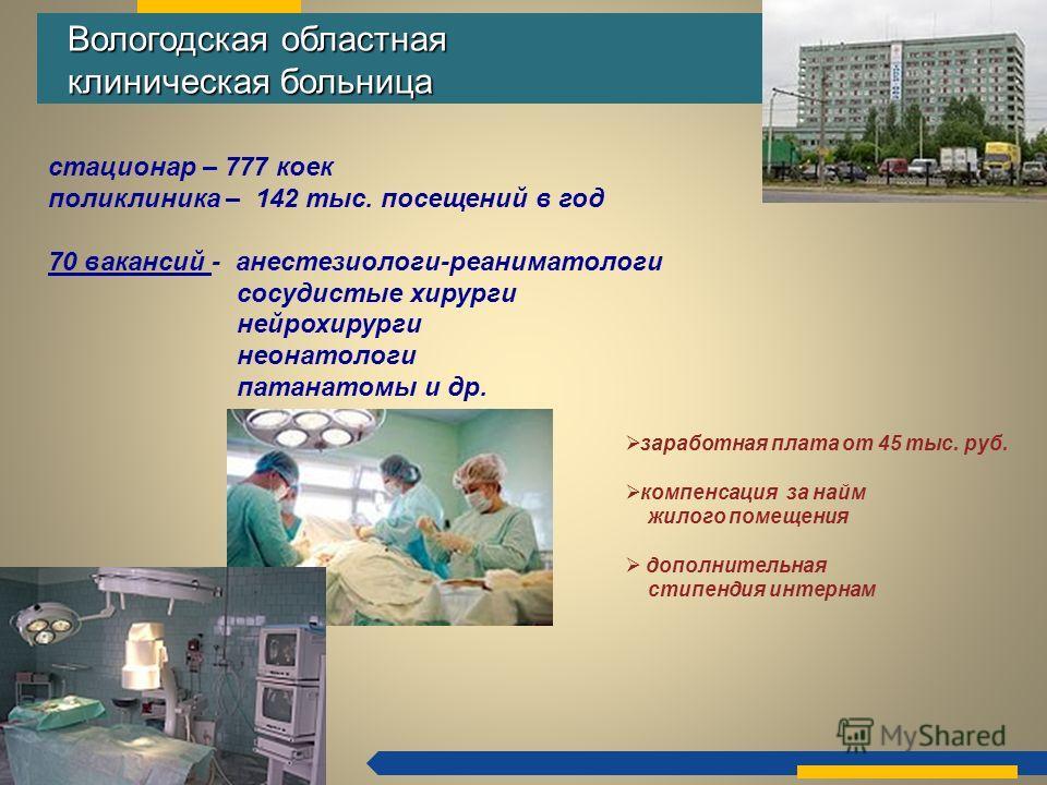 ДЕПАРТАМЕНТ ЗДРАВООХРАНЕНИЯ ВОЛОГОДСКОЙ ОБЛАСТИ Вологодская областная клиническая больница Вологодская областная клиническая больница стационар – 777 коек поликлиника – 142 тыс. посещений в год 70 вакансий - анестезиологи-реаниматологи сосудистые хир