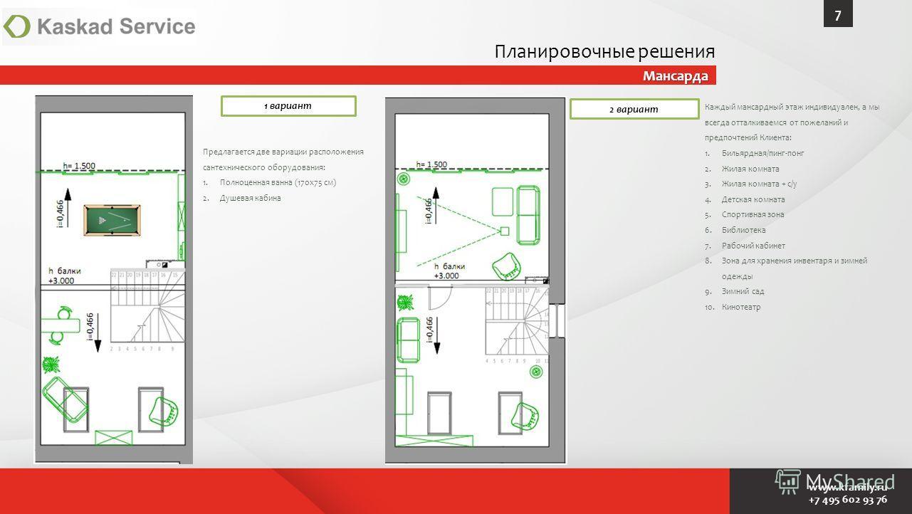 www.kfamily.ru +7 495 602 93 76 Мансарда 7 1 вариант 2 вариант Каждый мансардный этаж индивидуален, а мы всегда отталкиваемся от пожеланий и предпочтений Клиента: 1.Бильярдная/пинг-понг 2. Жилая комната 3. Жилая комната + с/у 4. Детская комната 5. Сп