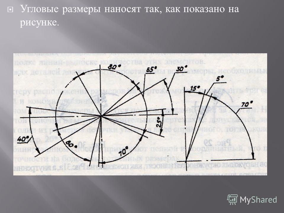 Угловые размеры наносят так, как показано на рисунке.