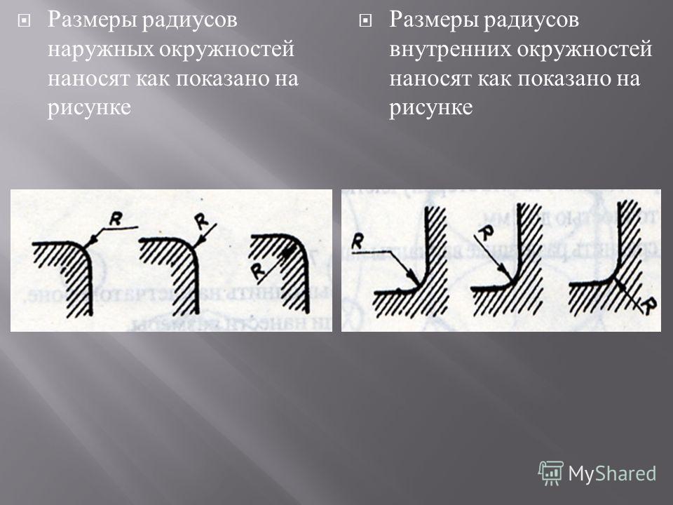 Размеры радиусов наружных окружностей наносят как показано на рисунке Размеры радиусов внутренних окружностей наносят как показано на рисунке