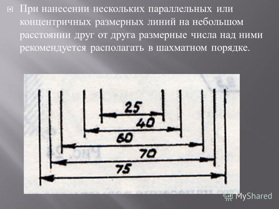 При нанесении нескольких параллельных или концентричных размерных линий на небольшом расстоянии друг от друга размерные числа над ними рекомендуется располагать в шахматном порядке.