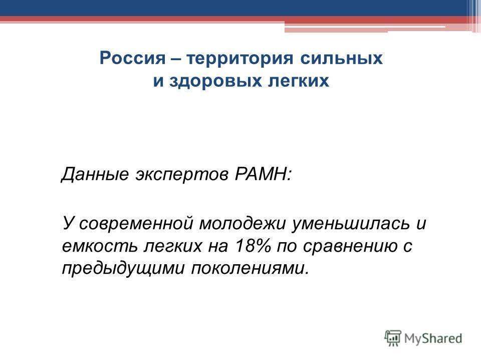 Россия – территория сильных и здоровых легких Данные экспертов РАМН: У современной молодежи уменьшилась и емкость легких на 18% по сравнению с предыдущими поколениями.