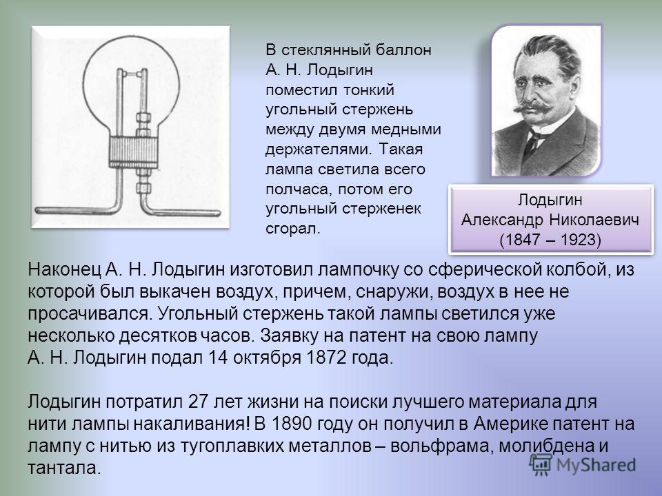 В стеклянный баллон А. Н. Лодыгин поместил тонкий угольный стержень между двумя медными держателями. Такая лампа светила всего полчаса, потом его угольный стерженек сгорал. Наконец А. Н. Лодыгин изготовил лампочку со сферической колбой, из которой бы