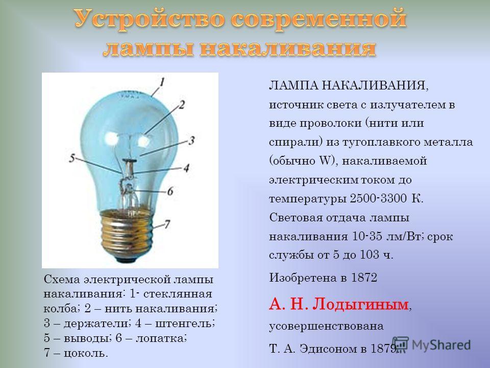 ЛАМПА НАКАЛИВАНИЯ, источник света с излучателем в виде проволоки (нити или спирали) из тугоплавкого металла (обычно W), накаливаемой электрическим током до температуры 2500-3300 К. Световая отдача лампы накаливания 10-35 лм/Вт; срок службы от 5 до 10