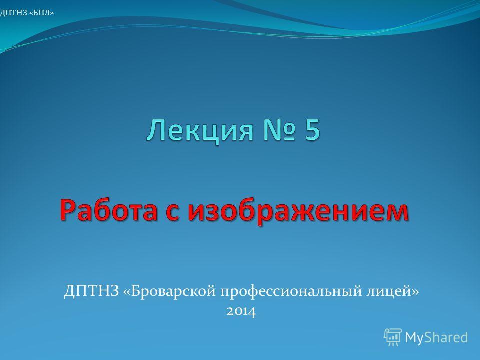 ДПТНЗ «Броварской профессиональный лицей» 2014 ДПТНЗ «БПЛ»