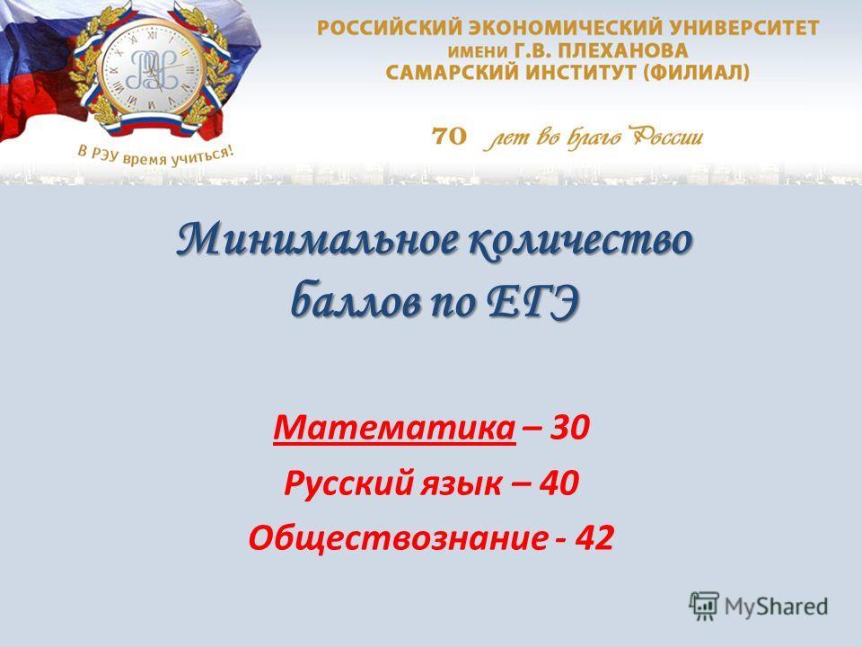 Минимальное количество баллов по ЕГЭ Математика – 30 Русский язык – 40 Обществознание - 42