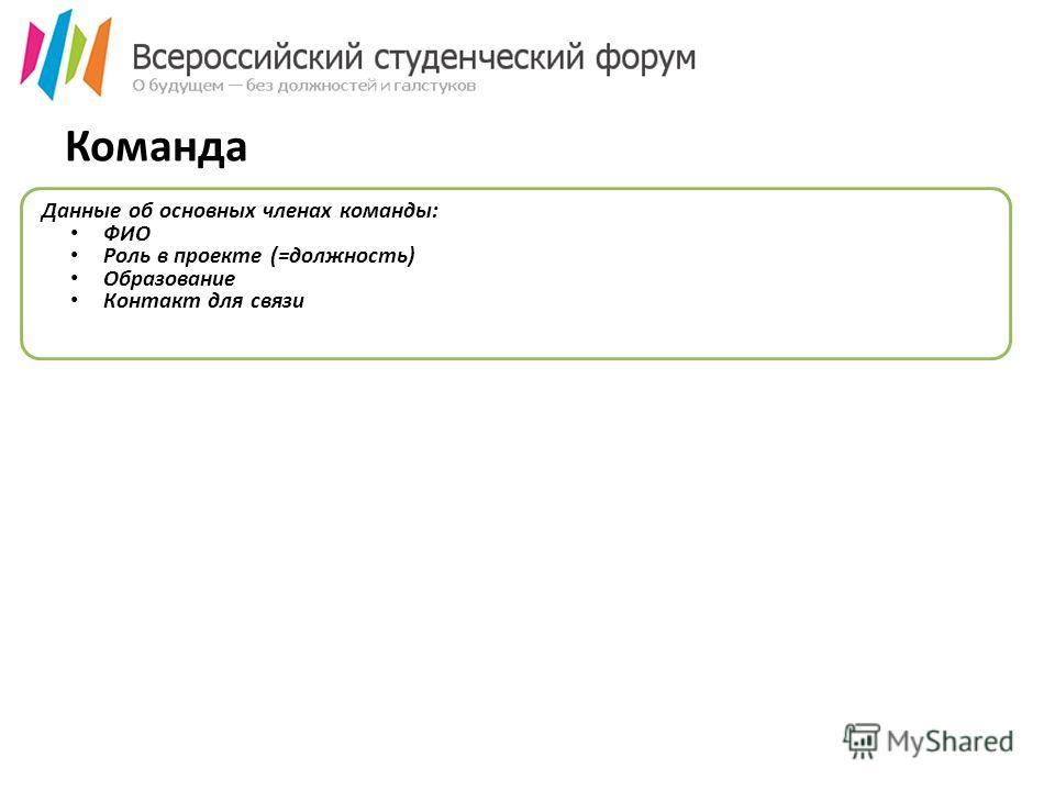 Команда Данные об основных членах команды: ФИО Роль в проекте (=должность) Образование Контакт для связи