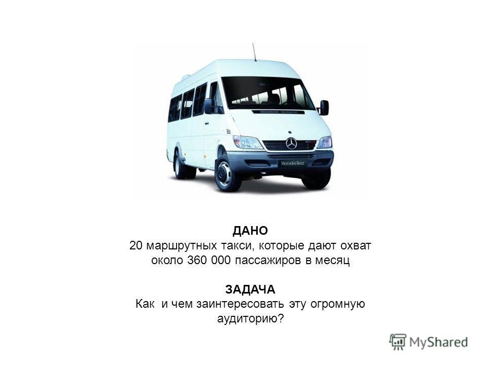 Ресурсы ДАНО 20 маршрутных такси, которые дают охват около 360 000 пассажиров в месяц ЗАДАЧА Как и чем заинтересовать эту огромную аудиторию?