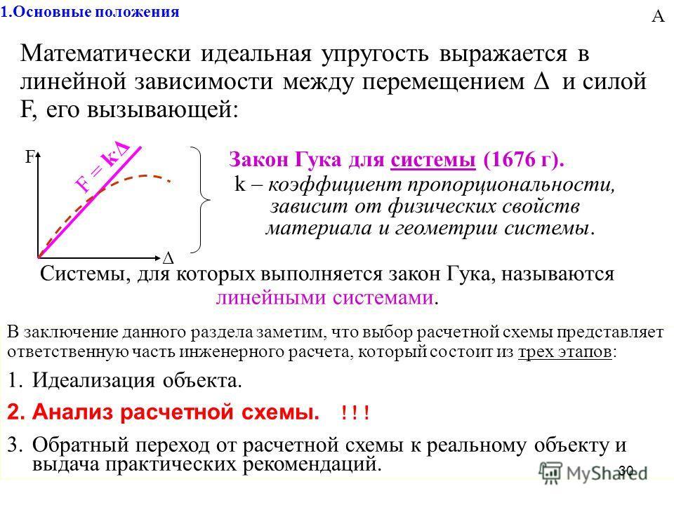 30 1. Основные положения Математически идеальная упругость выражается в линейной зависимости между перемещением Δ и силой F, его вызывающей: F = k. Δ F Δ Закон Гука для системы (1676 г). k – коэффициент пропорциональности, зависит от физических свойс