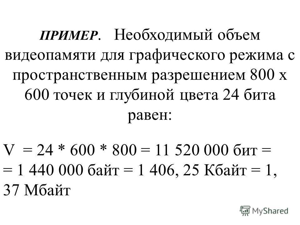 ПРИМЕР. Необходимый объем видеопамяти для графического режима с пространственным разрешением 800 х 600 точек и глубиной цвета 24 бита равен: V = 24 * 600 * 800 = 11 520 000 бит = = 1 440 000 байт = 1 406, 25 Кбайт = 1, 37 Мбайт