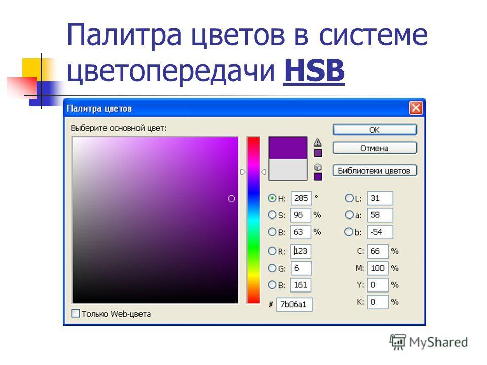 Палитра цветов в системе цветопередачи HSB
