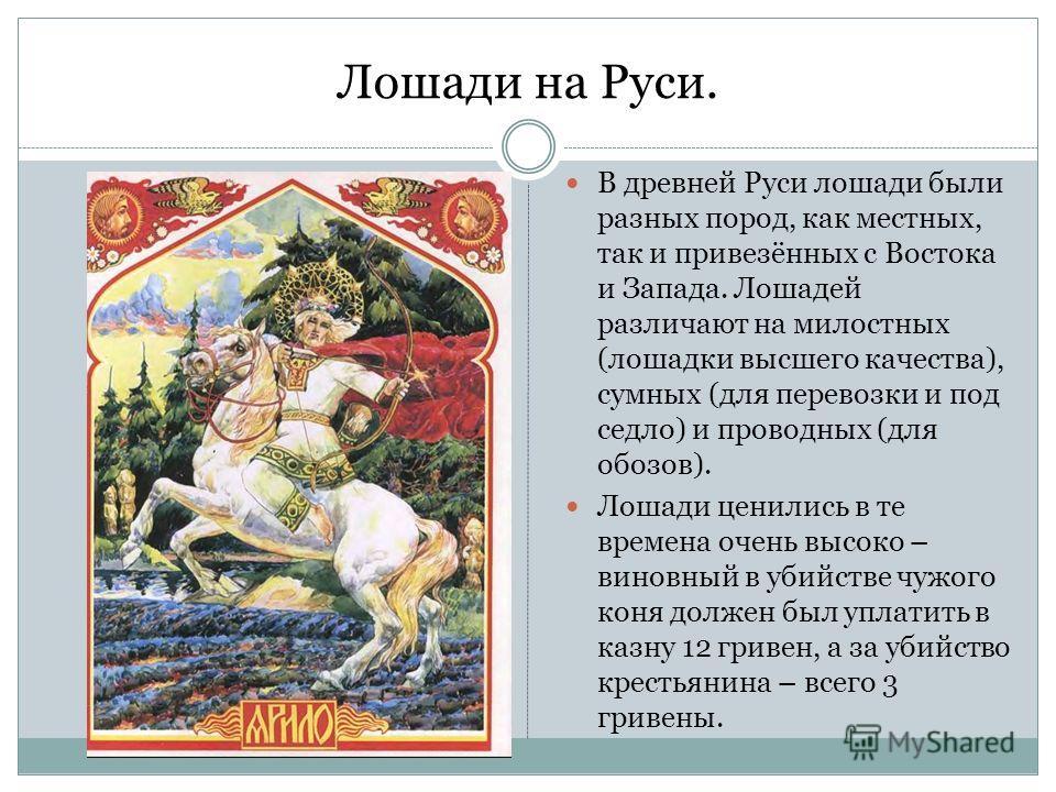Лошади на Руси. В древней Руси лошади были разных пород, как местных, так и привезённых с Востока и Запада. Лошадей различают на милостных (лошадки высшего качества), сумных (для перевозки и под седло) и проводных (для обозов). Лошади ценились в те в