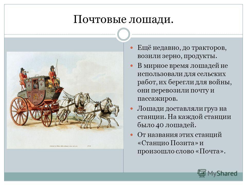 Почтовые лошади. Ещё недавно, до тракторов, возили зерно, продукты. В мирное время лошадей не использовали для сельских работ, их берегли для войны, они перевозили почту и пассажиров. Лошади доставляли груз на станции. На каждой станции было 40 лошад