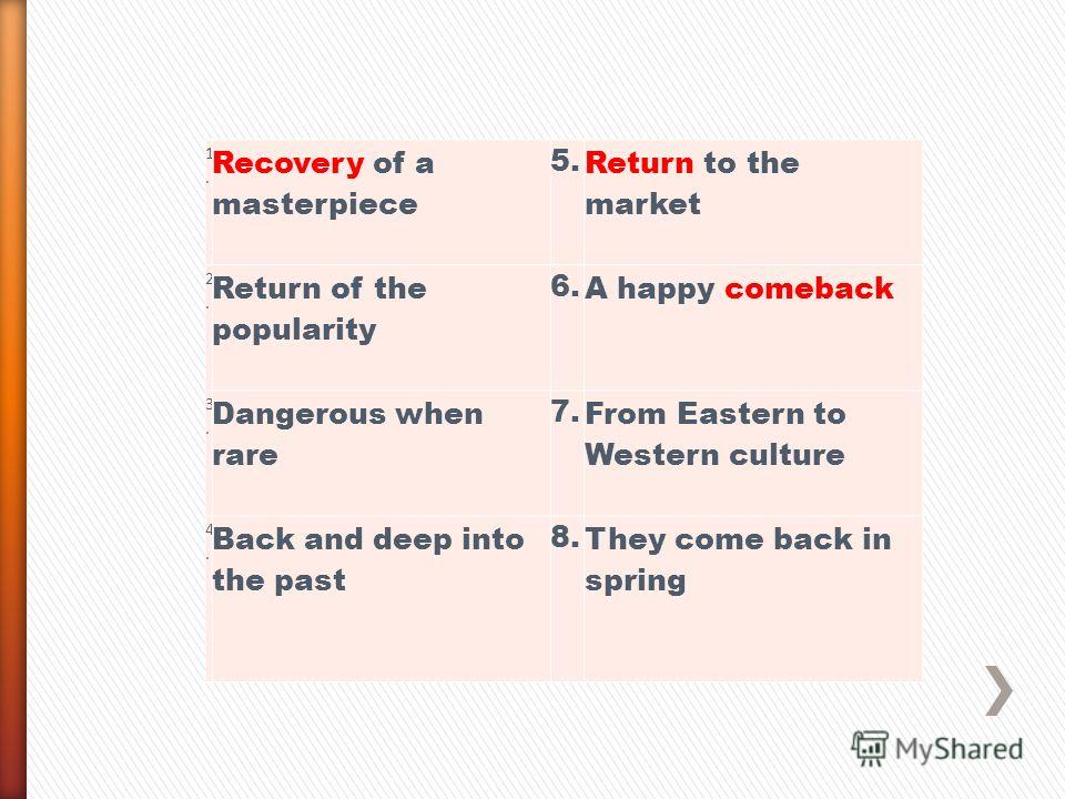 1. 1. Recovery of a masterpiece 5. Return to the market 2. 2. Return of the popularity 6. A happy comeback 3. 3. Dangerous when rare 7. From Eastern to Western culture 4. 4. Back and deep into the past 8. They come back in spring