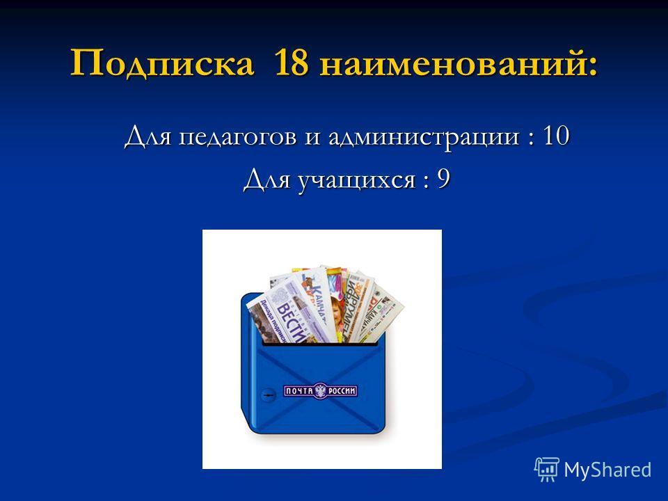 Подписка 18 наименований: Для педагогов и администрации : 10 Для учащихся : 9
