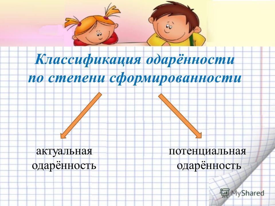 Классификация одарённости по степени сформированности актуальная одарённость потенциальная одарённость