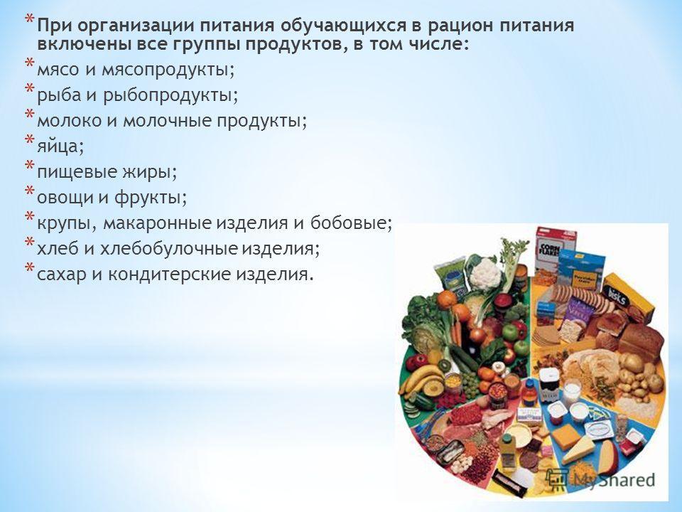 * При организации питания обучающихся в рацион питания включены все группы продуктов, в том числе: * мясо и мясопродукты; * рыба и рыбопродукты; * молоко и молочные продукты; * яйца; * пищевые жиры; * овощи и фрукты; * крупы, макаронные изделия и боб