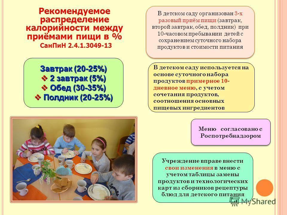 Завтрак (20-25%) 2 завтрак (5%) 2 завтрак (5%) Обед (30-35%) Обед (30-35%) Полдник (20-25%) Полдник (20-25%) В детском саду используется на основе суточного набора продуктов примерное 10- дневное меню, с учетом сочетания продуктов, соотношения основн