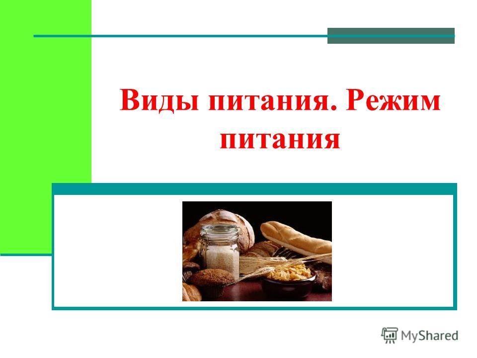 Виды питания. Режим питания