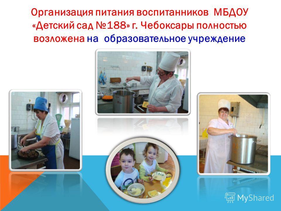 Организация питания воспитанников МБДОУ «Детский сад 188» г. Чебоксары полностью возложена на образовательное учреждение