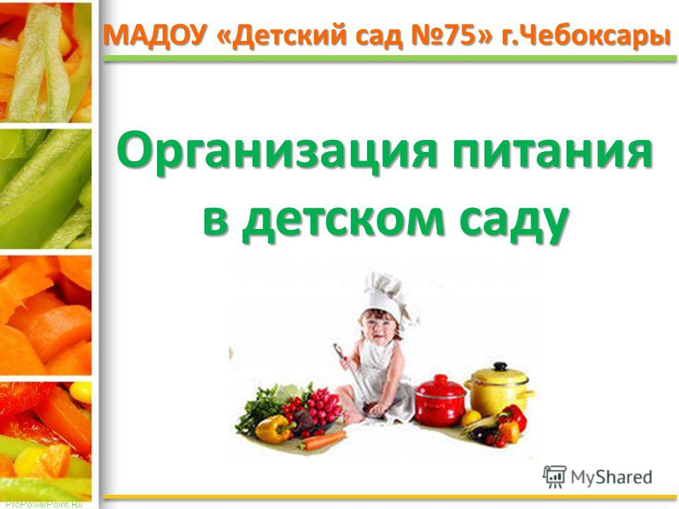 ProPowerPoint.Ru МАДОУ «Детский сад 75» г.Чебоксары Организация питания в детском саду