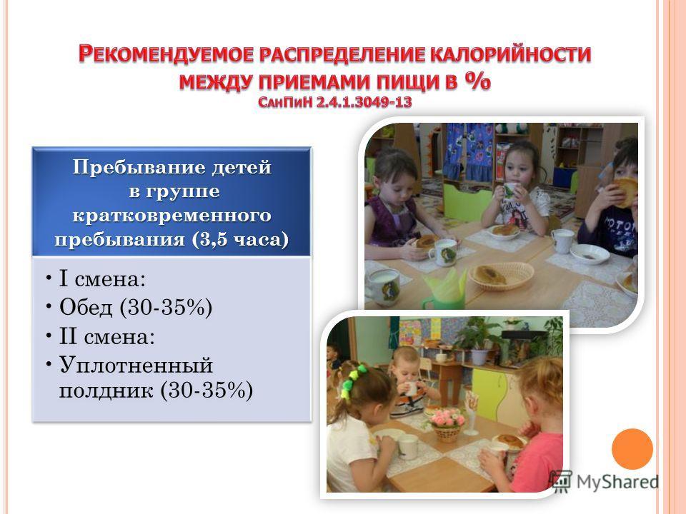 Пребывание детей в группе кратковременного пребывания (3,5 часа) в группе кратковременного пребывания (3,5 часа) I смена: Обед (30-35%) II смена: Уплотненный полдник (30-35%)