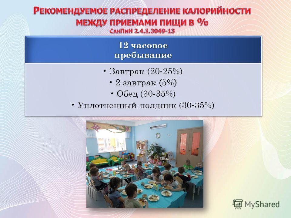 12 часовое пребывание Завтрак (20-25%) 2 завтрак (5%) Обед (30-35%) Уплотненный полдник (30-35%)