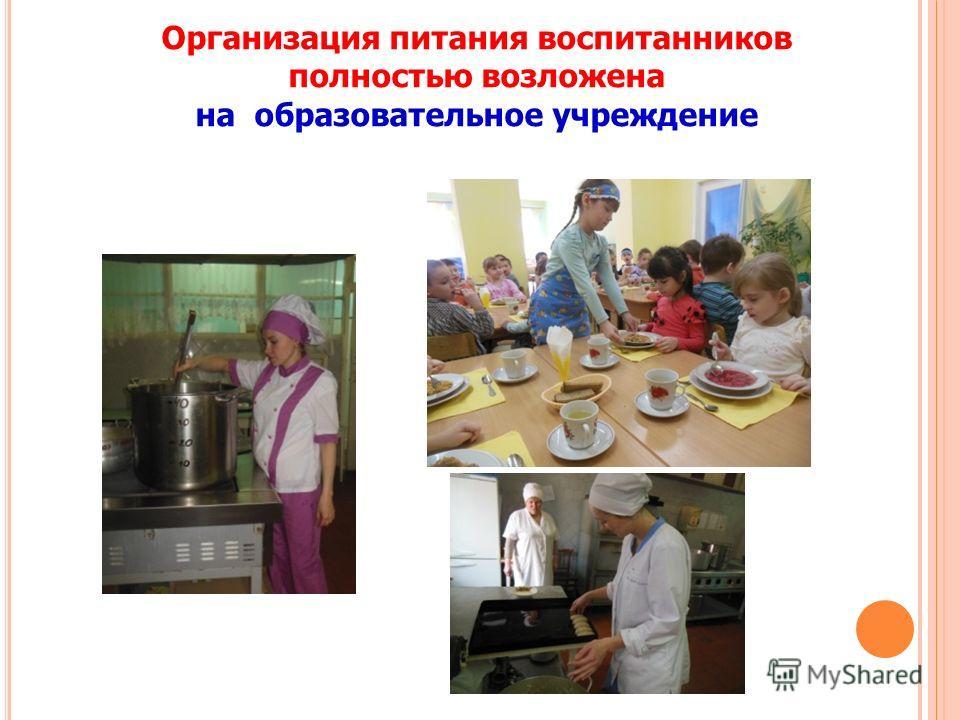 Организация питания воспитанников полностью возложена на образовательное учреждение