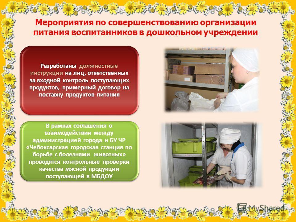 FokinaLida.75@mail.ru Мероприятия по совершенствованию организации питания воспитанников в дошкольном учреждении Разработаны должностные инструкции на лиц, ответственных за входной контроль поступающих продуктов, примерный договор на поставку продукт