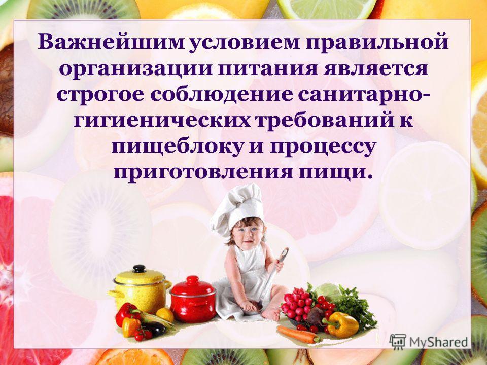 Важнейшим условием правильной организации питания является строгое соблюдение санитарно- гигиенических требований к пищеблоку и процессу приготовления пищи.