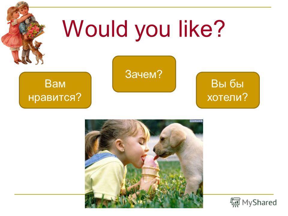 Would you like? Вы бы хотели? Вам нравится? Зачем?