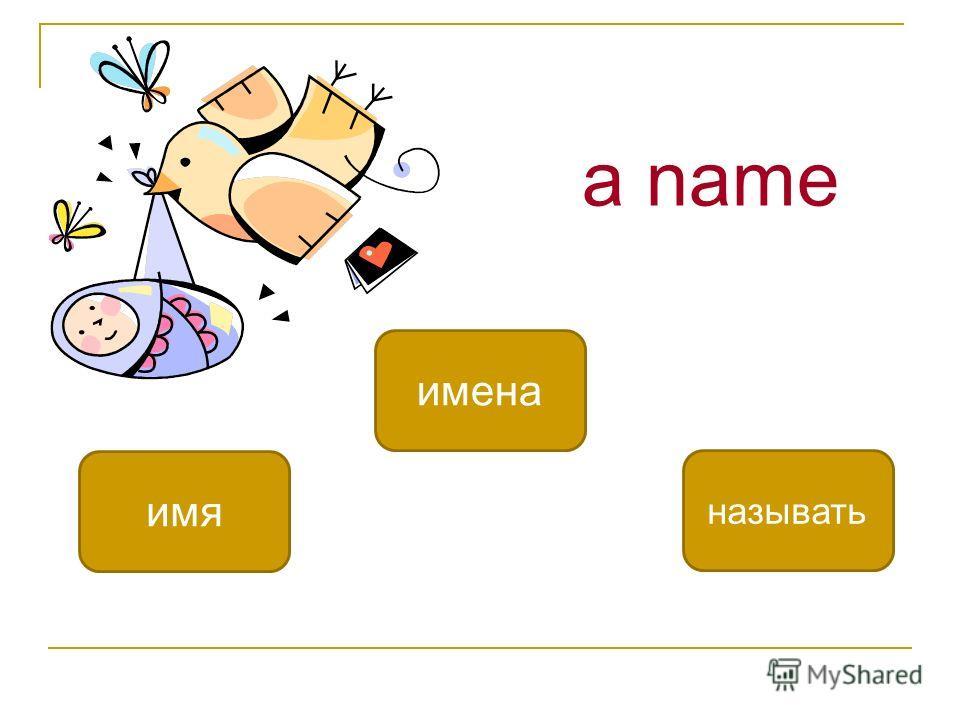 a name имя имена называть