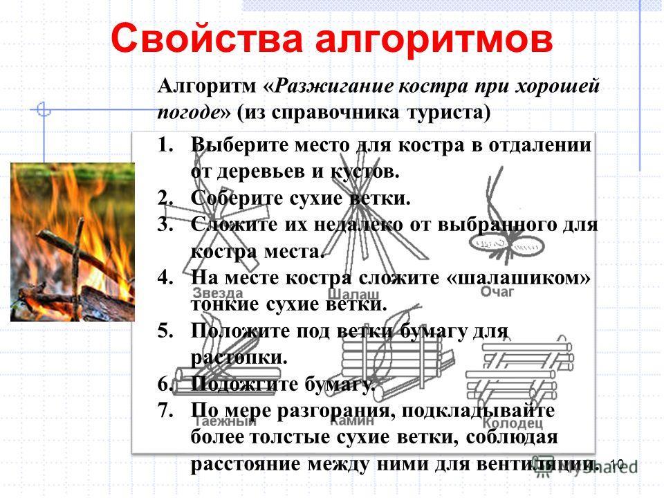 Свойства алгоритмов 10 Алгоритм «Разжигание костра при хорошей погоде» (из справочника туриста) 1. Выберите место для костра в отдалении от деревьев и кустов. 2. Соберите сухие ветки. 3. Сложите их недалеко от выбранного для костра места. 4. На месте