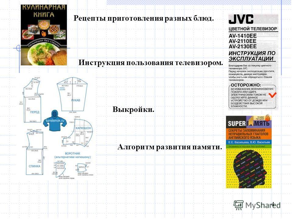 4 Рецепты приготовления разных блюд. Инструкция пользования телевизором. Выкройки. Алгоритм развития памяти.