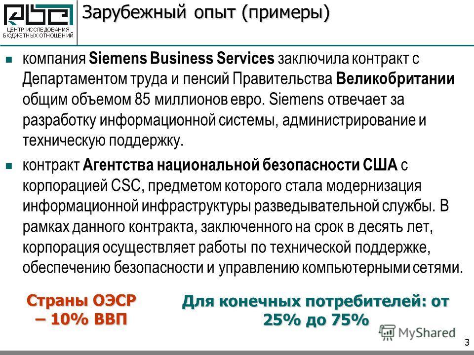 3 Зарубежный опыт (примеры) компания Siemens Business Services заключила контракт с Департаментом труда и пенсий Правительства Великобритании общим объемом 85 миллионов евро. Siemens отвечает за разработку информационной системы, администрирование и