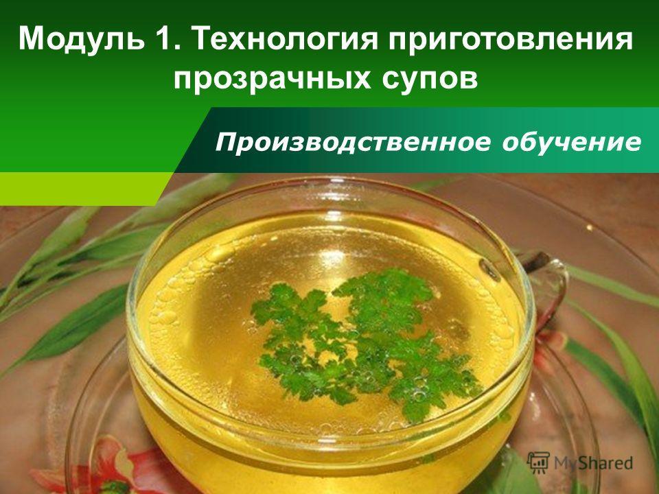 Производственное обучение Модуль 1. Технология приготовления прозрачных супов