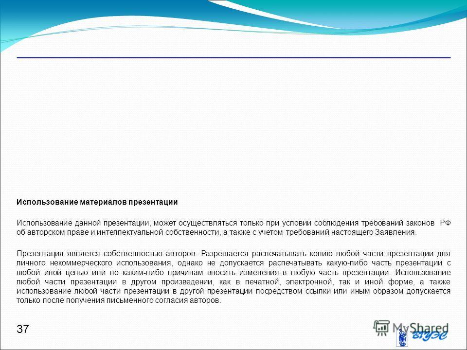 37 Использование материалов презентации Использование данной презентации, может осуществляться только при условии соблюдения требований законов РФ об авторском праве и интеллектуальной собственности, а также с учетом требований настоящего Заявления.