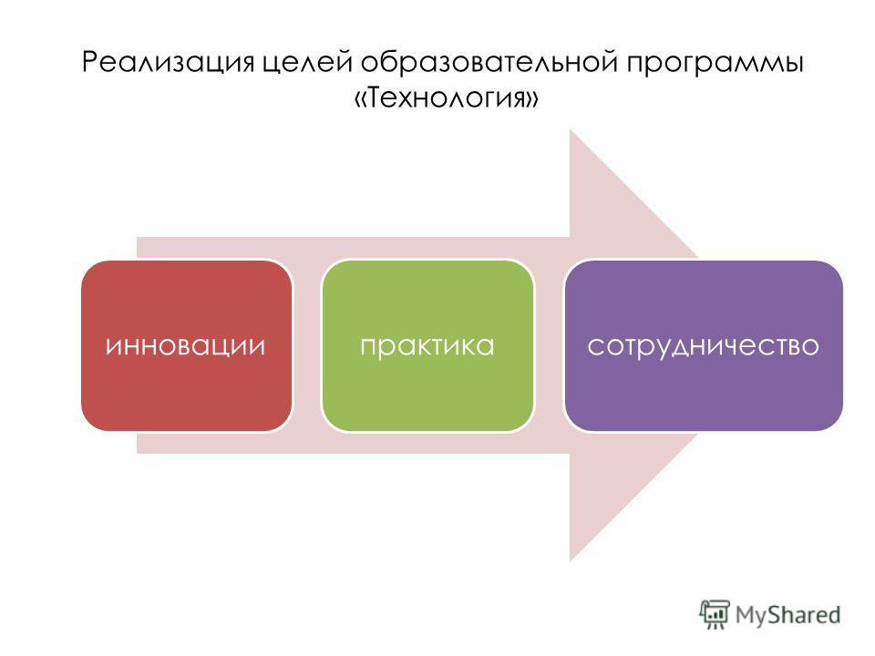 Реализация целей образовательной программы «Технология» инновациипрактикасотрудничество