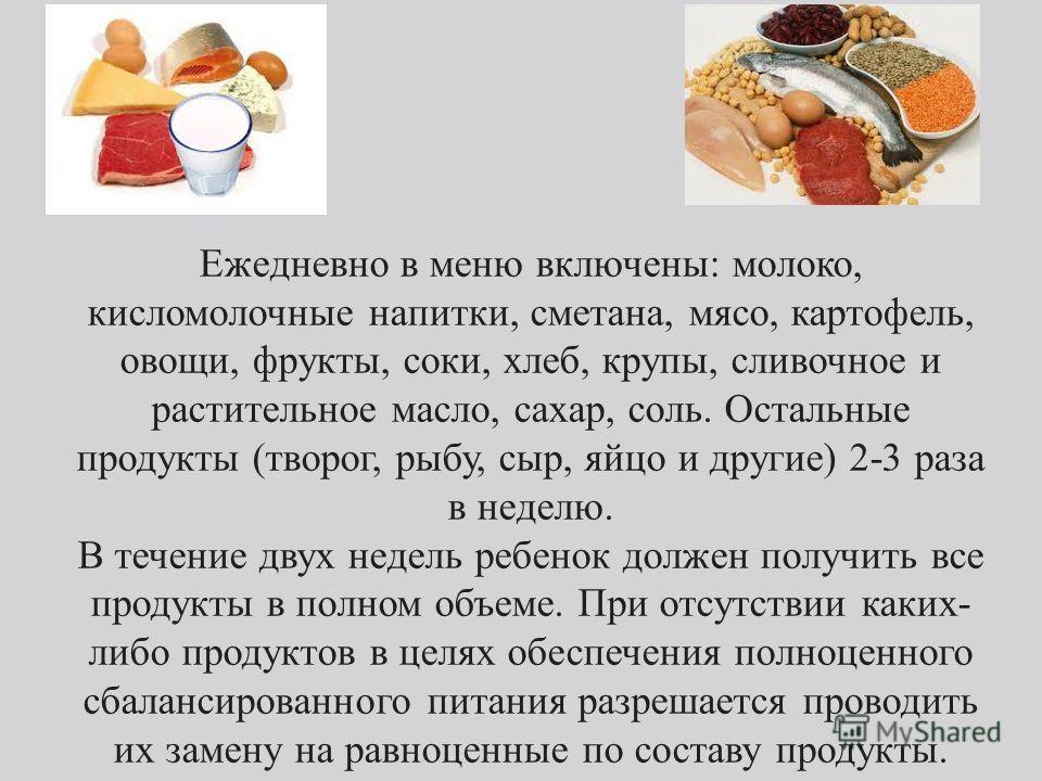 Ежедневно в меню включены: молоко, кисломолочные напитки, сметана, мясо, картофель, овощи, фрукты, соки, хлеб, крупы, сливочное и растительное масло, сахар, соль. Остальные продукты (творог, рыбу, сыр, яйцо и другие) 2-3 раза в неделю. В течение двух