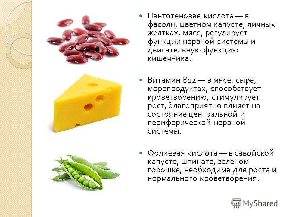 Пантотеновая кислота в фасоли, цветном капусте, яичных желтках, мясе, регулирует функции нервной системы и двигательную функцию кишечника. Витамин B12 в мясе, сыре, морепродуктах, способствует кроветворению, стимулирует рост, благоприятно влияет на с