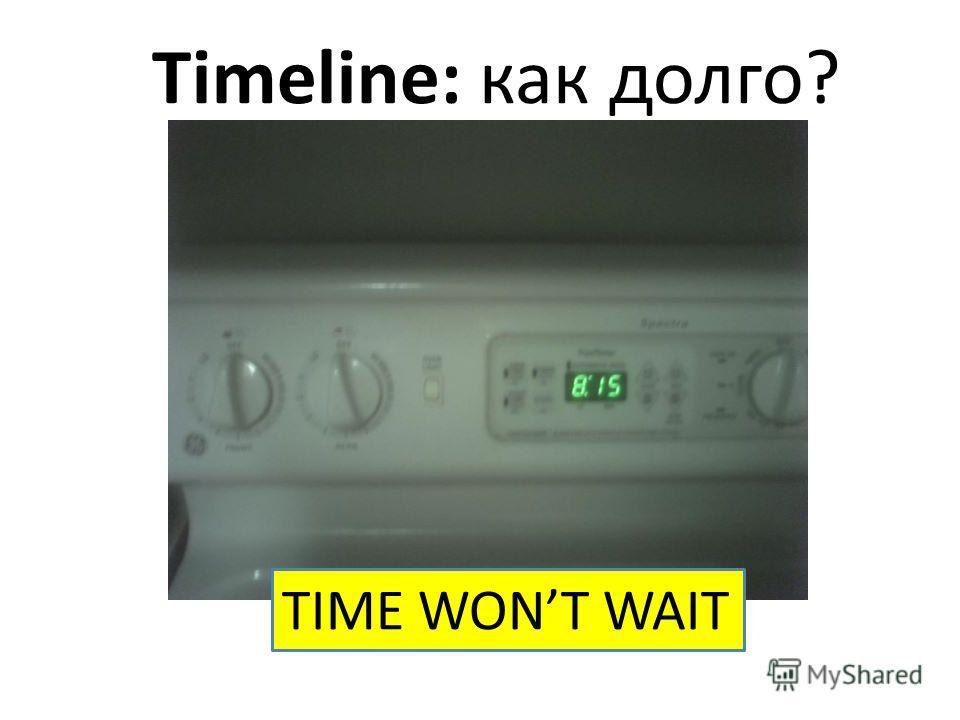 Timeline: как долго? TIME WONT WAIT
