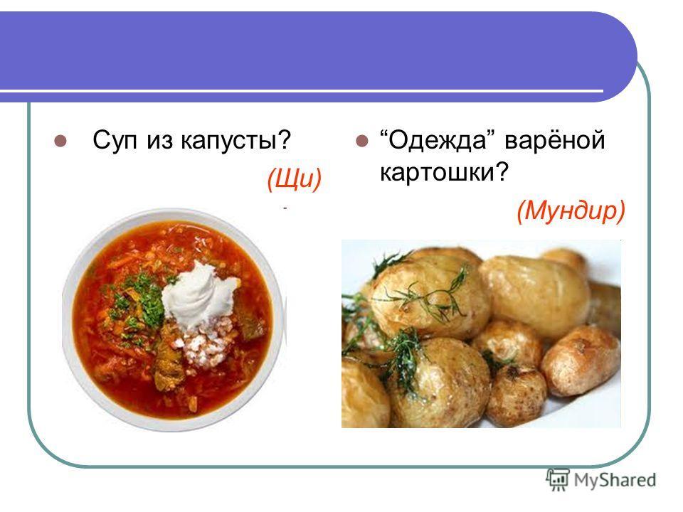 Суп из капусты? (Щи) Одежда варёной картошки? (Мундир)