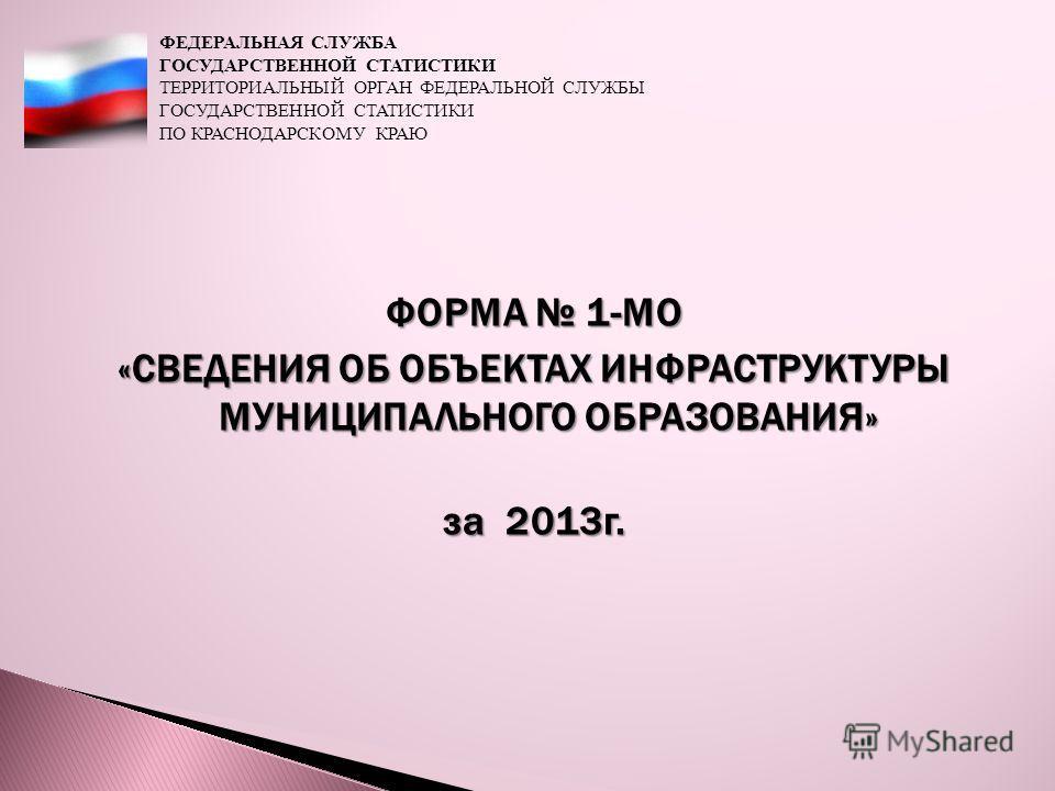 ФОРМА 1-МО «СВЕДЕНИЯ ОБ ОБЪЕКТАХ ИНФРАСТРУКТУРЫ МУНИЦИПАЛЬНОГО ОБРАЗОВАНИЯ» за 2013 г. ФЕДЕРАЛЬНАЯ СЛУЖБА ГОСУДАРСТВЕННОЙ СТАТИСТИКИ ТЕРРИТОРИАЛЬНЫЙ ОРГАН ФЕДЕРАЛЬНОЙ СЛУЖБЫ ГОСУДАРСТВЕННОЙ СТАТИСТИКИ ПО КРАСНОДАРСКОМУ КРАЮ